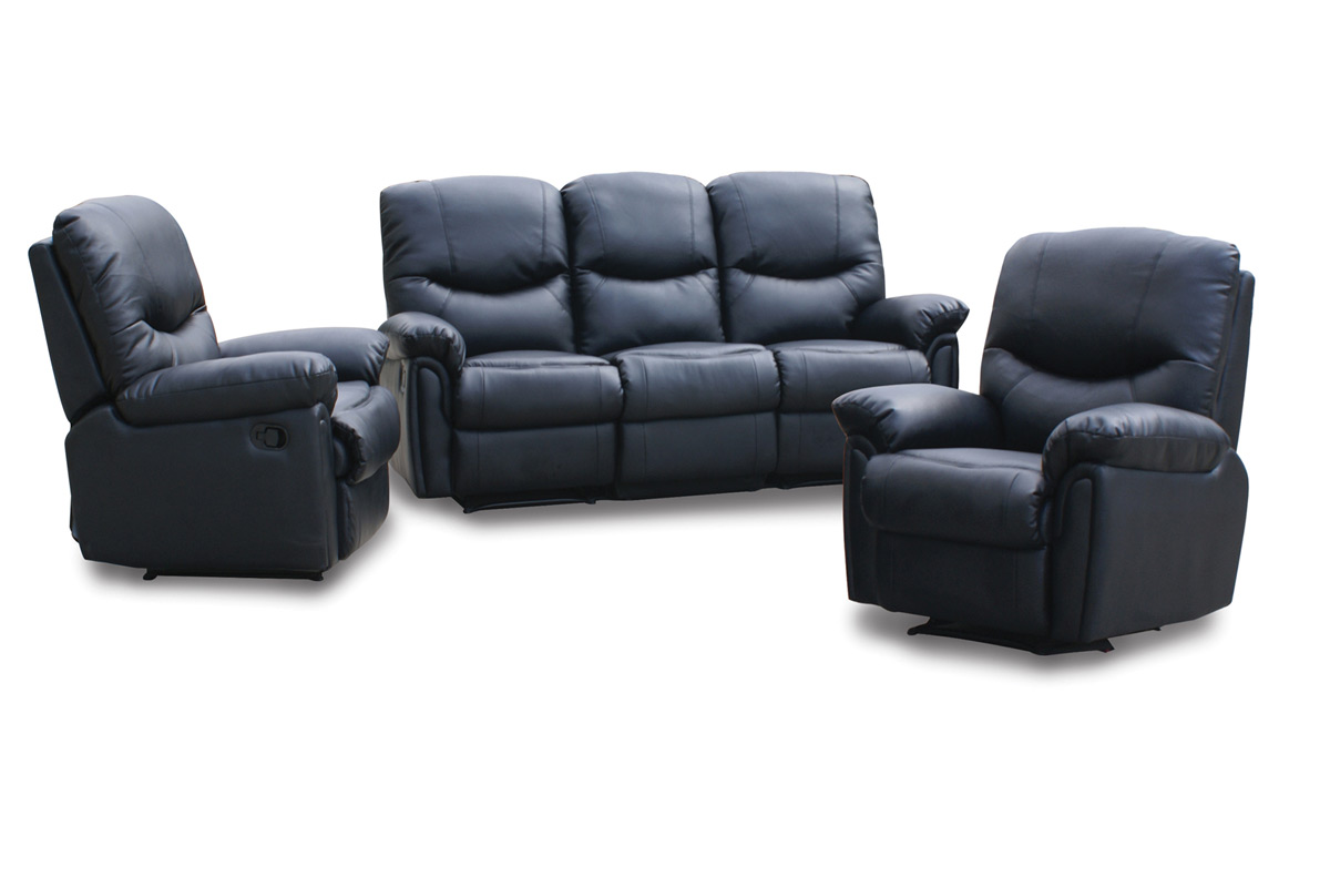 Luisiana Italian Leather Reclining Sofa Set